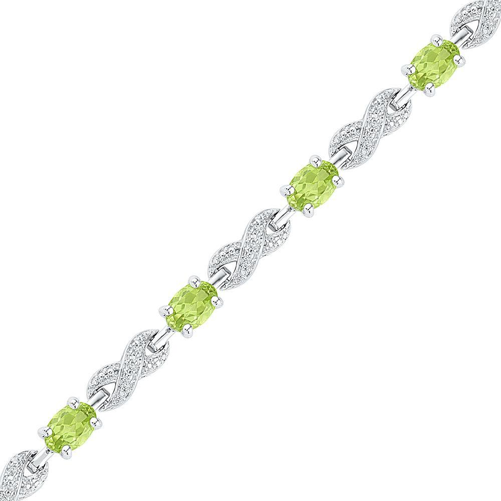 Oval Lab-Created Peridot Diamond Infinity Tennis Bracelet Sterling Silver