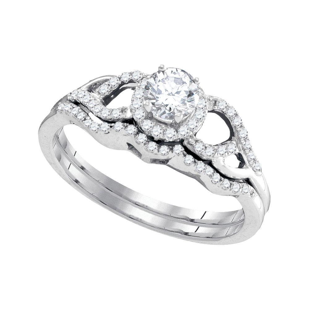 Diamond Bridal Wedding Engagement Ring 14k White Gold