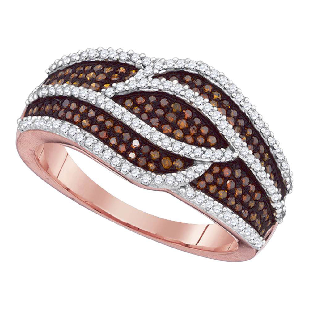 Red Color Enhanced Diamond Fashion Ring 10kt Rose Gold