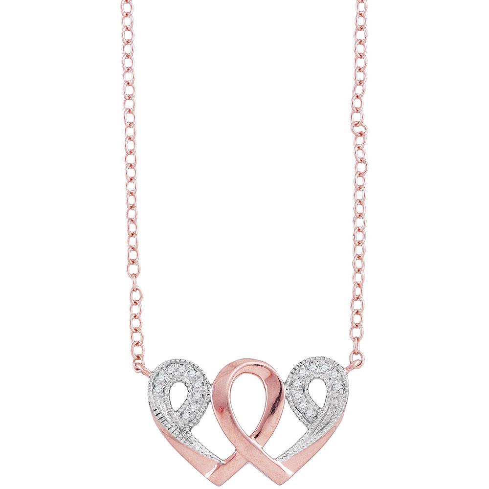 Diamond Interwoven Heart Infinity Love Pendant 10k Rose Gold