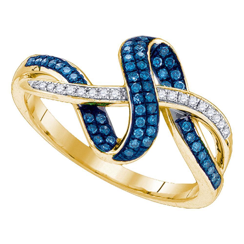 Blue Color Enhanced Diamond Band 10kt Yellow Gold