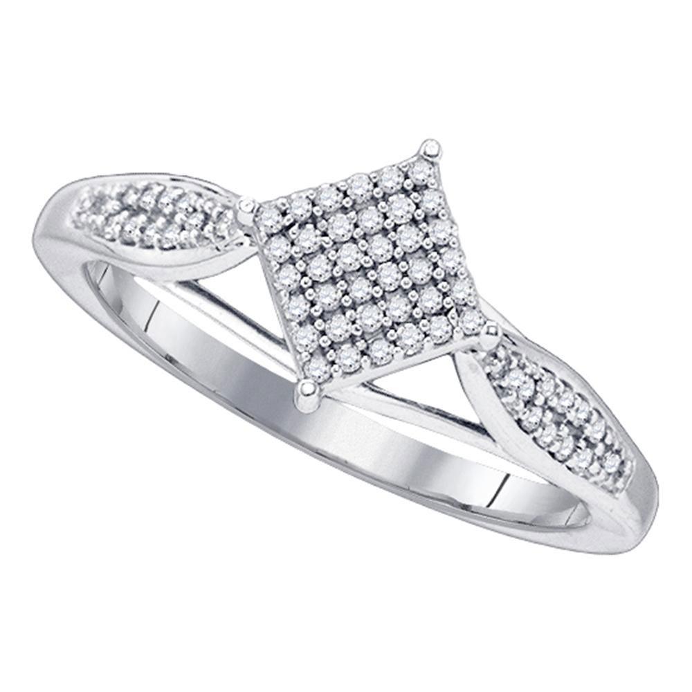 Diamond Diagonal Square Cluster Ring 10kt White Gold