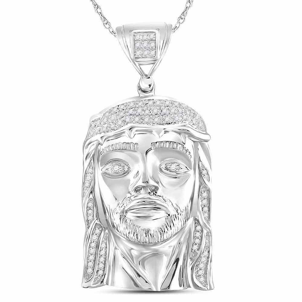 Mens Diamond Jesus Face Christ Charm Pendant Sterling Silver