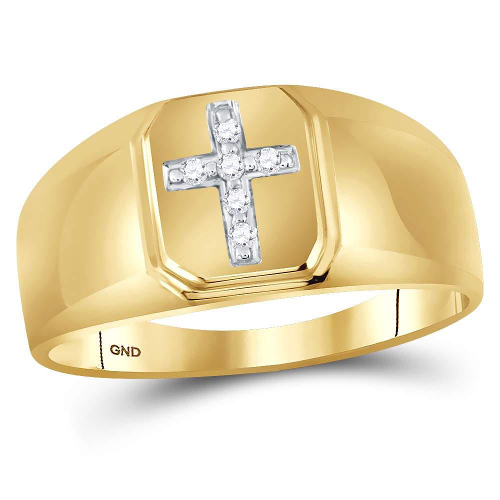 Mens Diamond Cross Band 10kt Yellow Gold