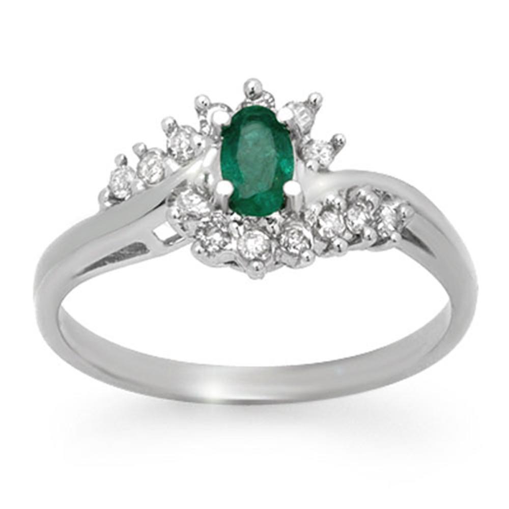 0.45 CTW Genuine Emerald & Diamond Ring 14K White Gold