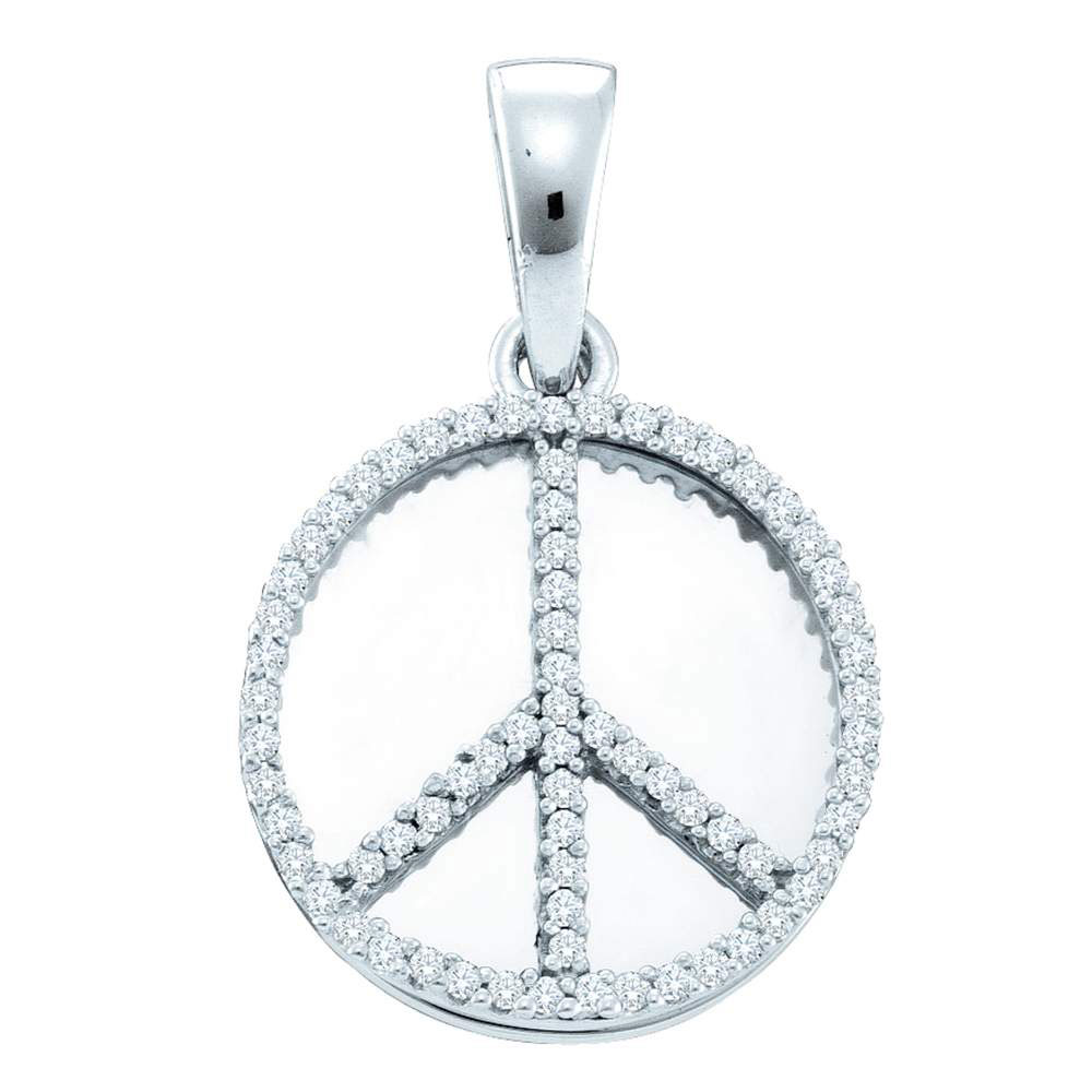 Diamond Peace Sign Circle Disc Pendant Sterling Silver