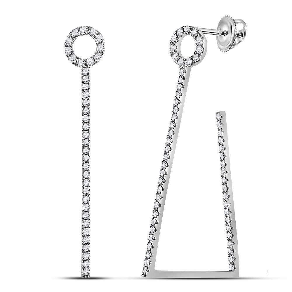 Diamond Trapezoid Geometric Hoop Earrings 14kt White Gold
