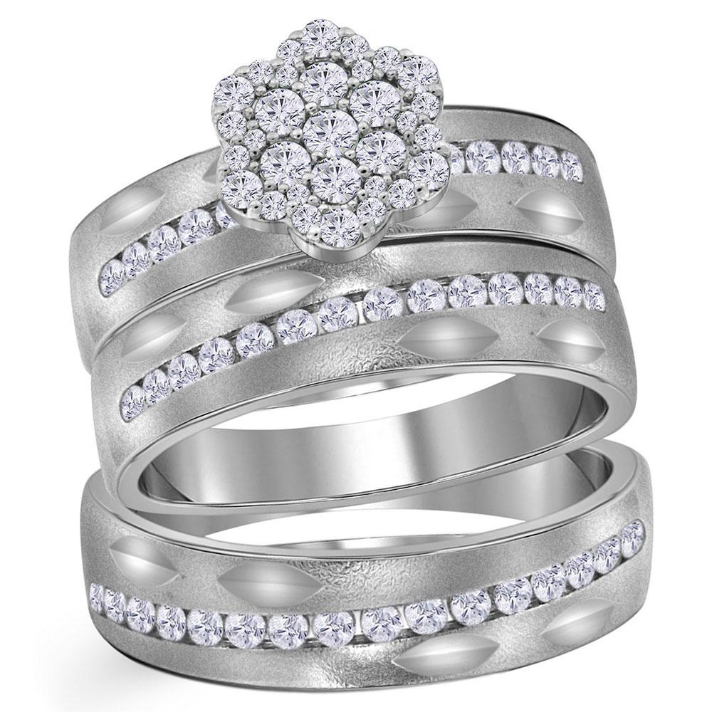 His & Hers Diamond Matching Bridal Wedding Ring 14kt White Gold