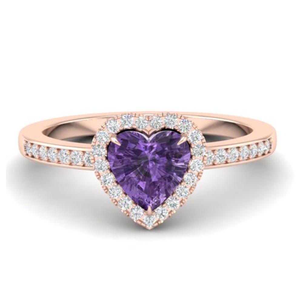 1 CTW Genuine Amethyst & Ring Heart Halo 14K Rose Gold