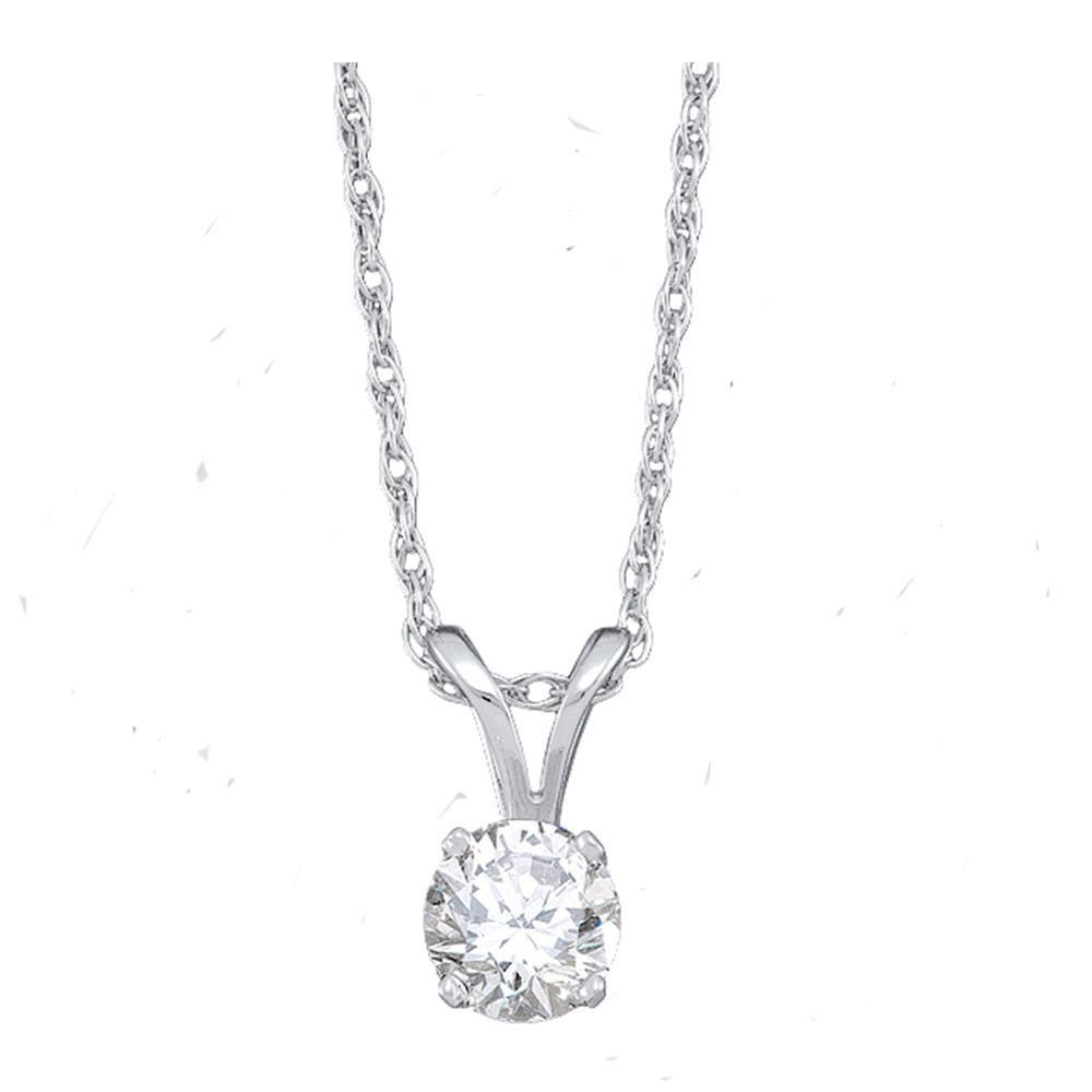 Diamond Solitaire Pendant 14kt White Gold