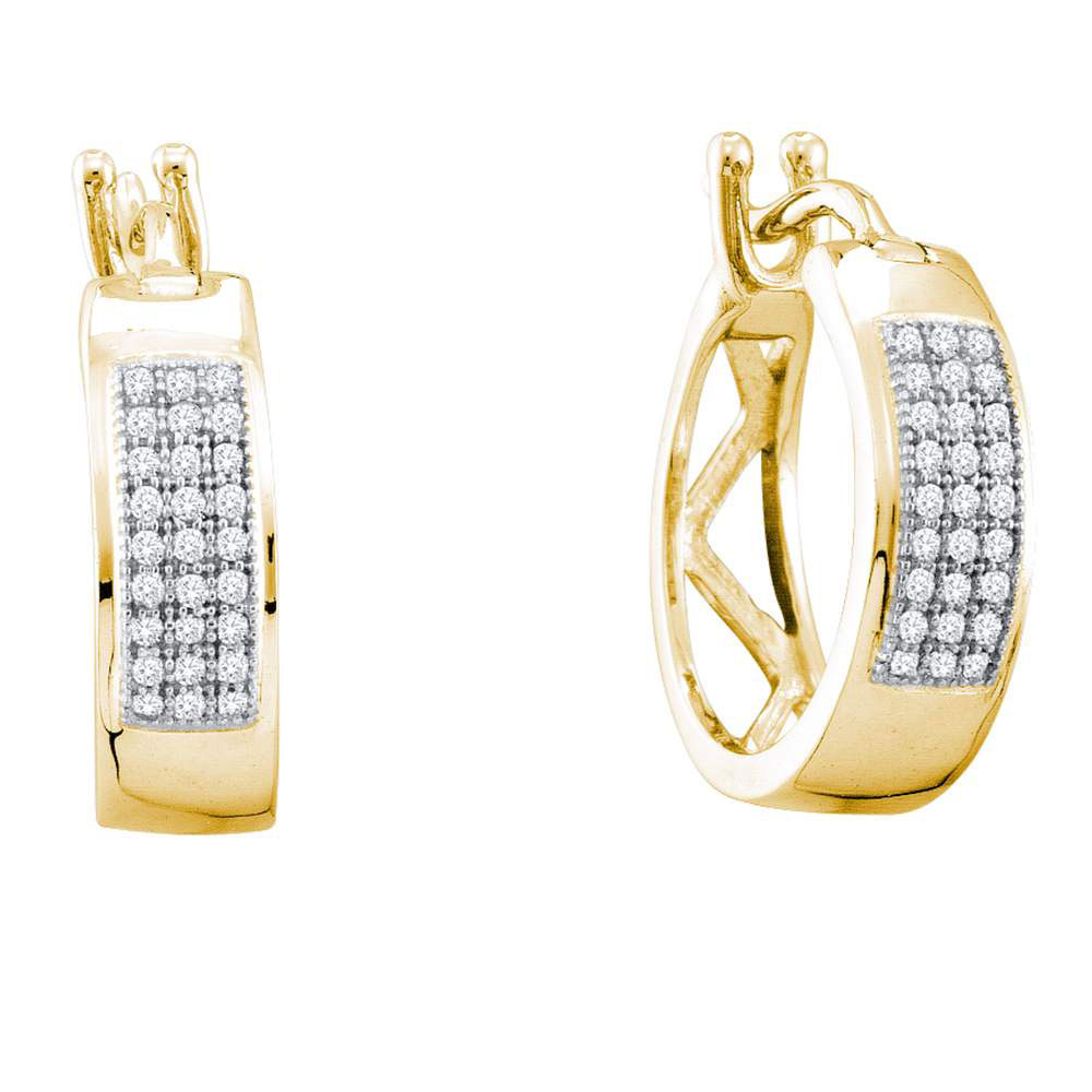 Diamond Hoop Earrings 10kt Yellow Gold
