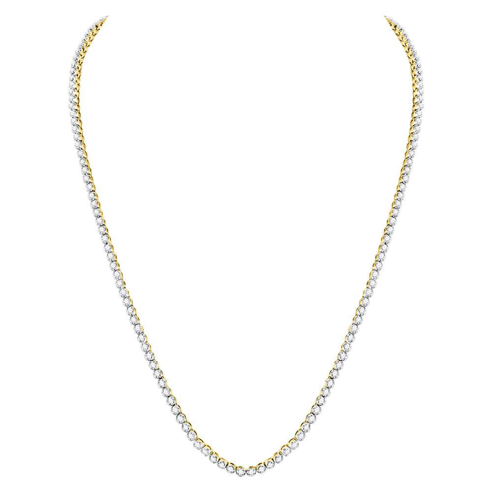 """Mens Diamond Solitaire Linked 26"""" Necklace 10kt Yellow Gold"""