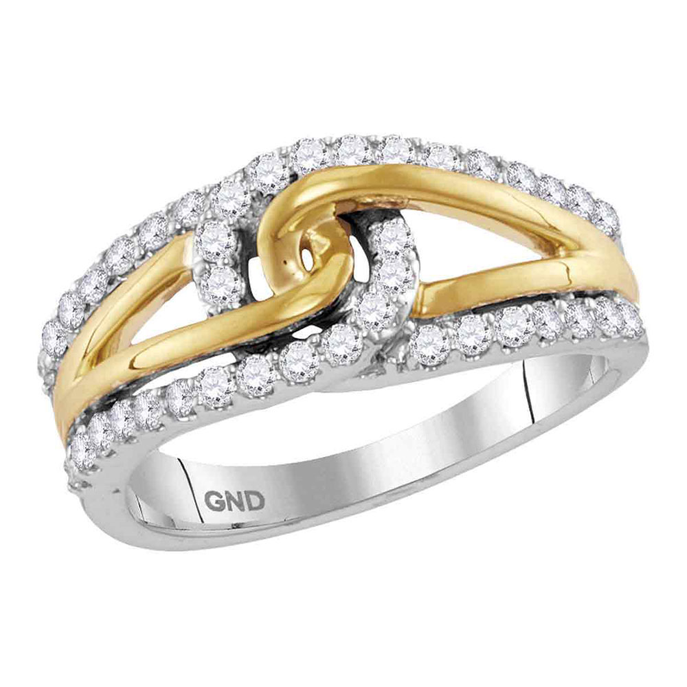 Diamond Lasso Loop Knot Band 10kt Two-tone White Gold