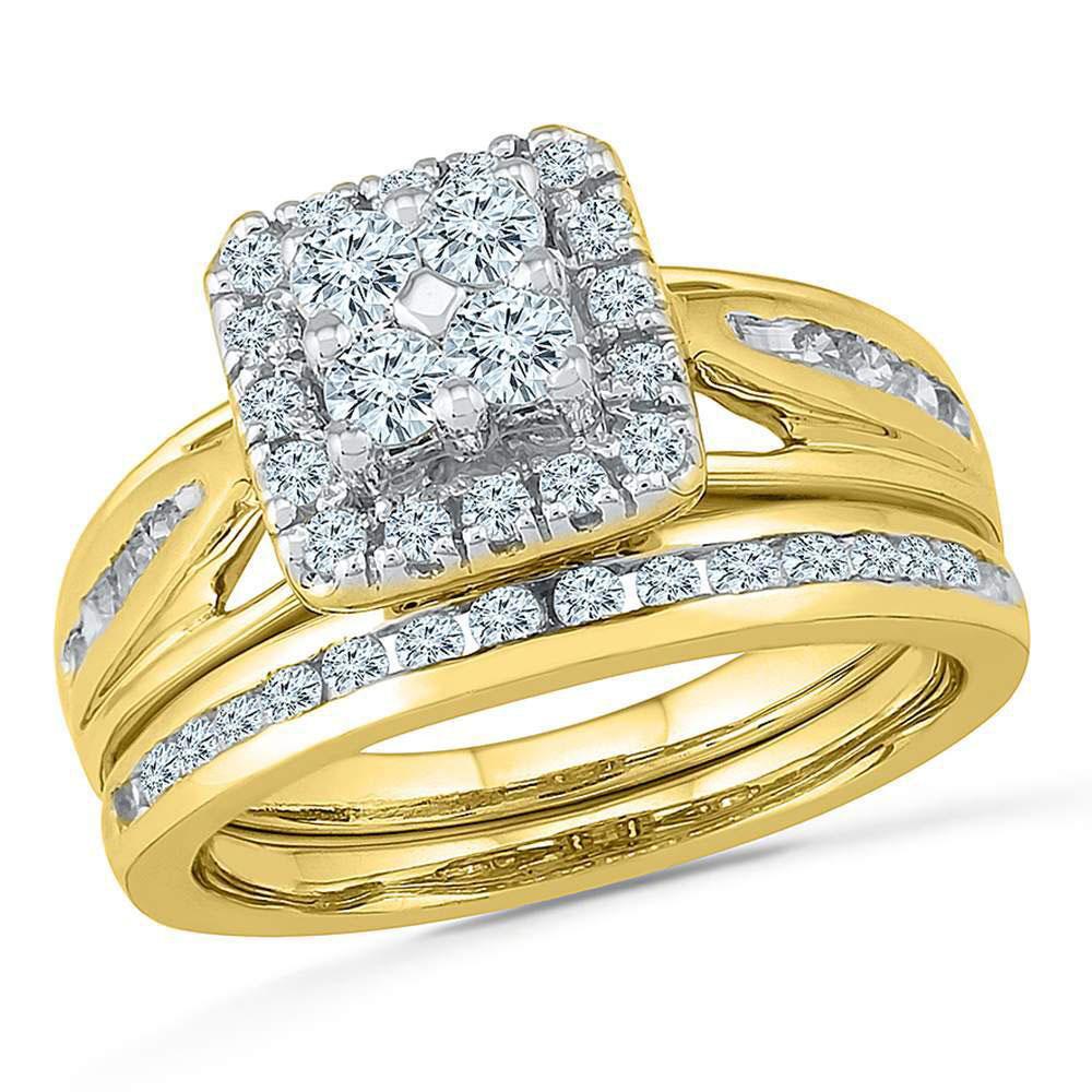 Diamond Cluster Bridal Wedding Engagement Ring 14kt Yellow Gold