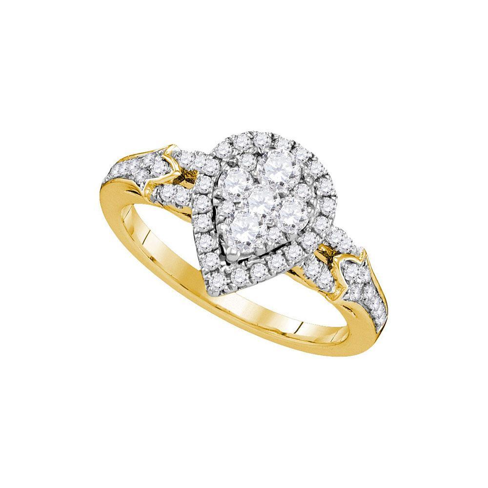 14K Yellow Gold Ring Teardrop 0.73ctw Diamond