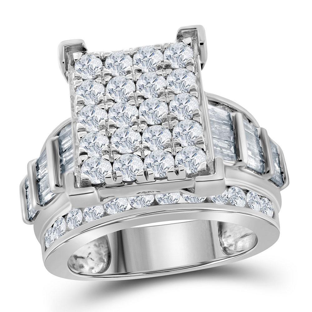 10K White Gold Ring Cluster 2.97ctw Diamond