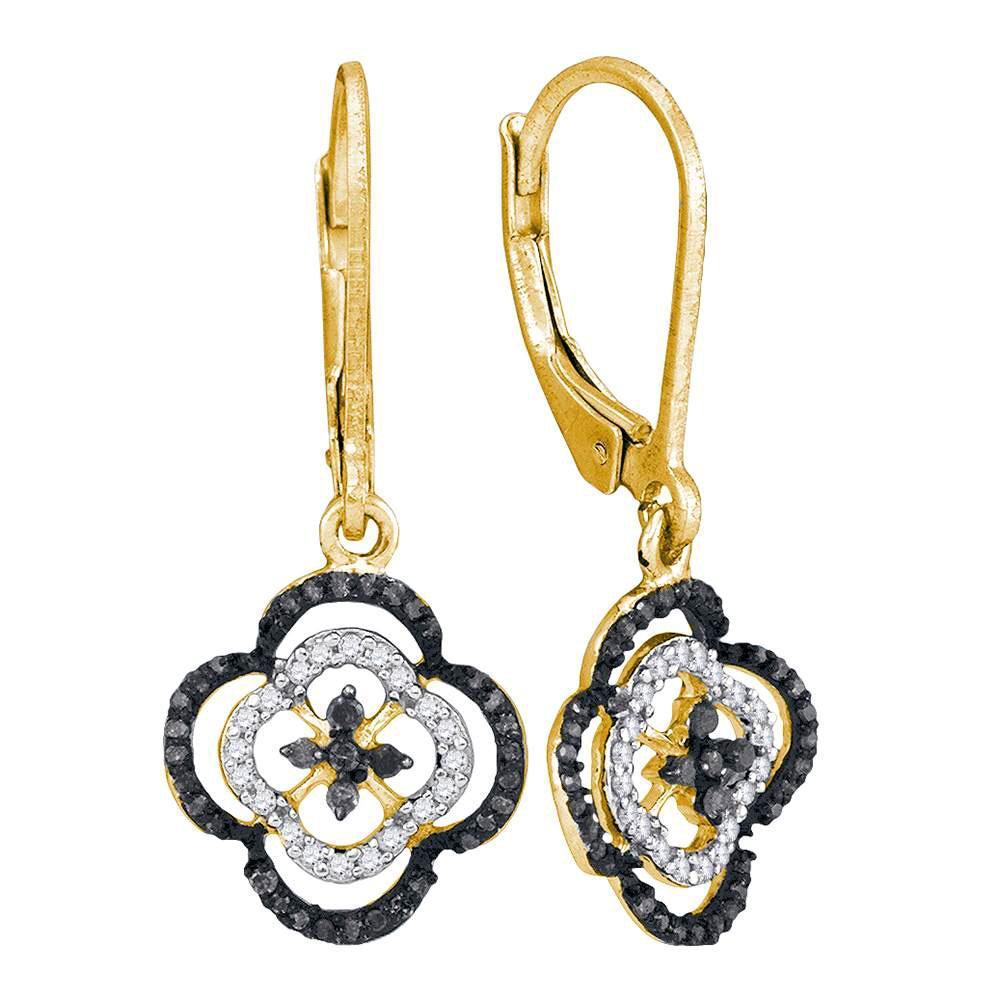 10K Yellow Gold Earrings Quatrefoil Leverback Dangle 0.35ctw Colored Black Diamond, Diamond,