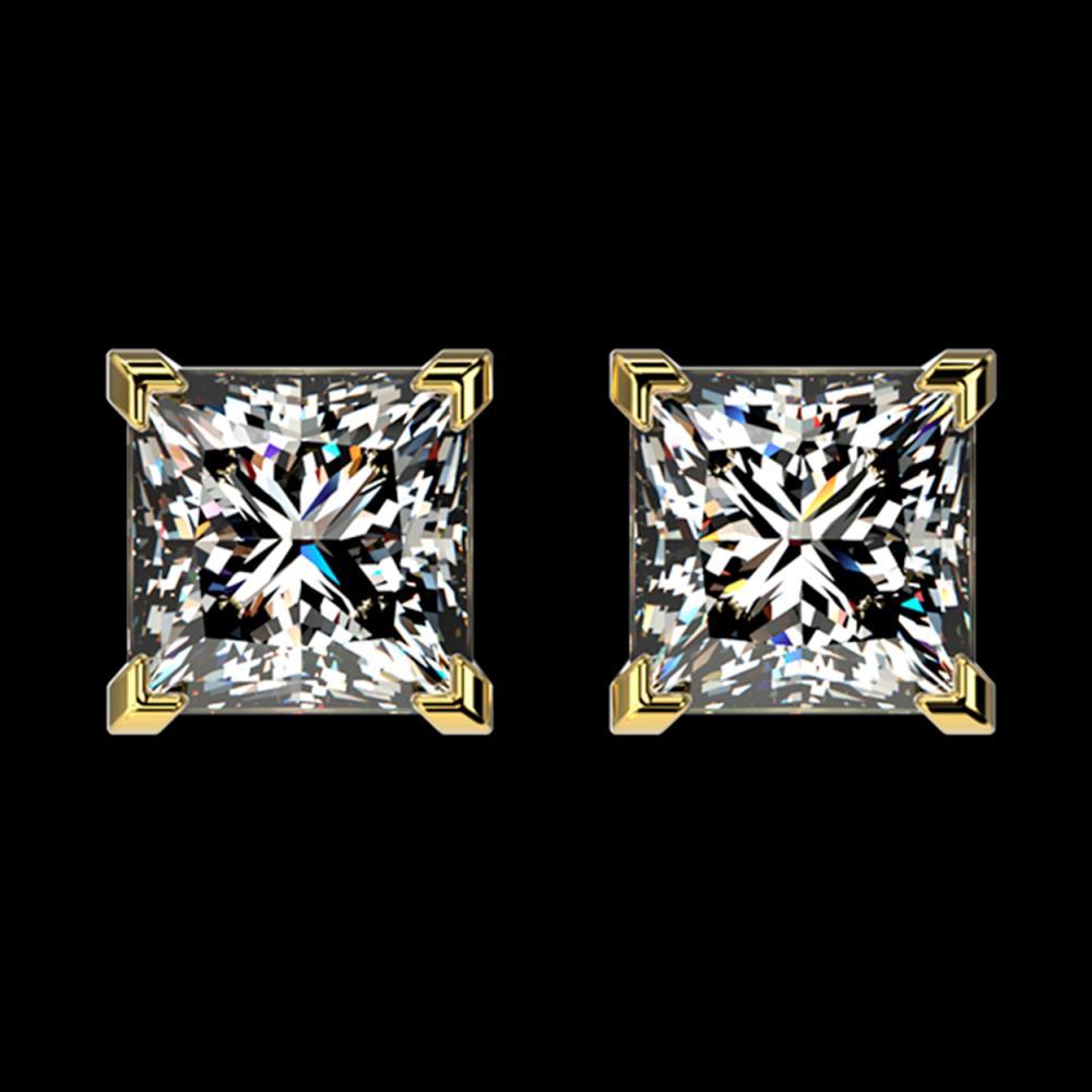 2 ctw Princess Diamond Stud Earrings 10K Yellow Gold