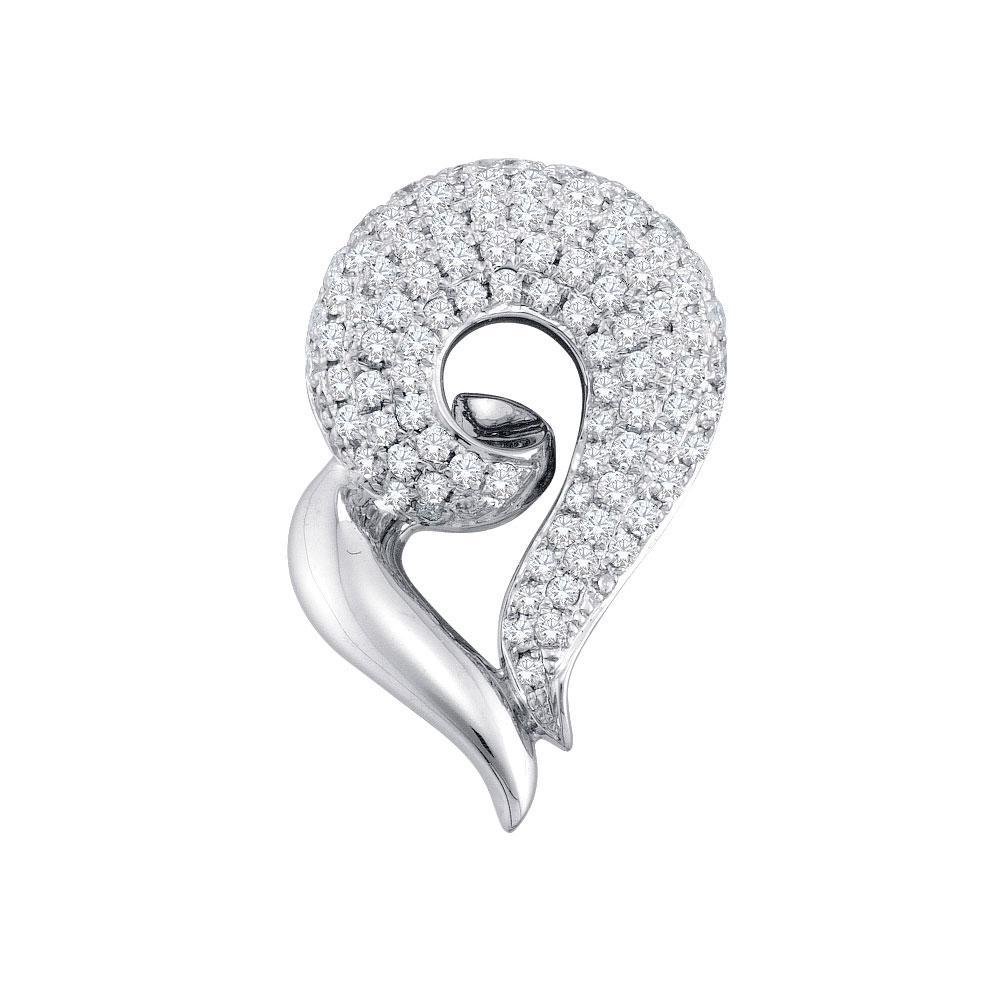 14K White Gold Pendant Curled Heart 0.74ctw Diamond