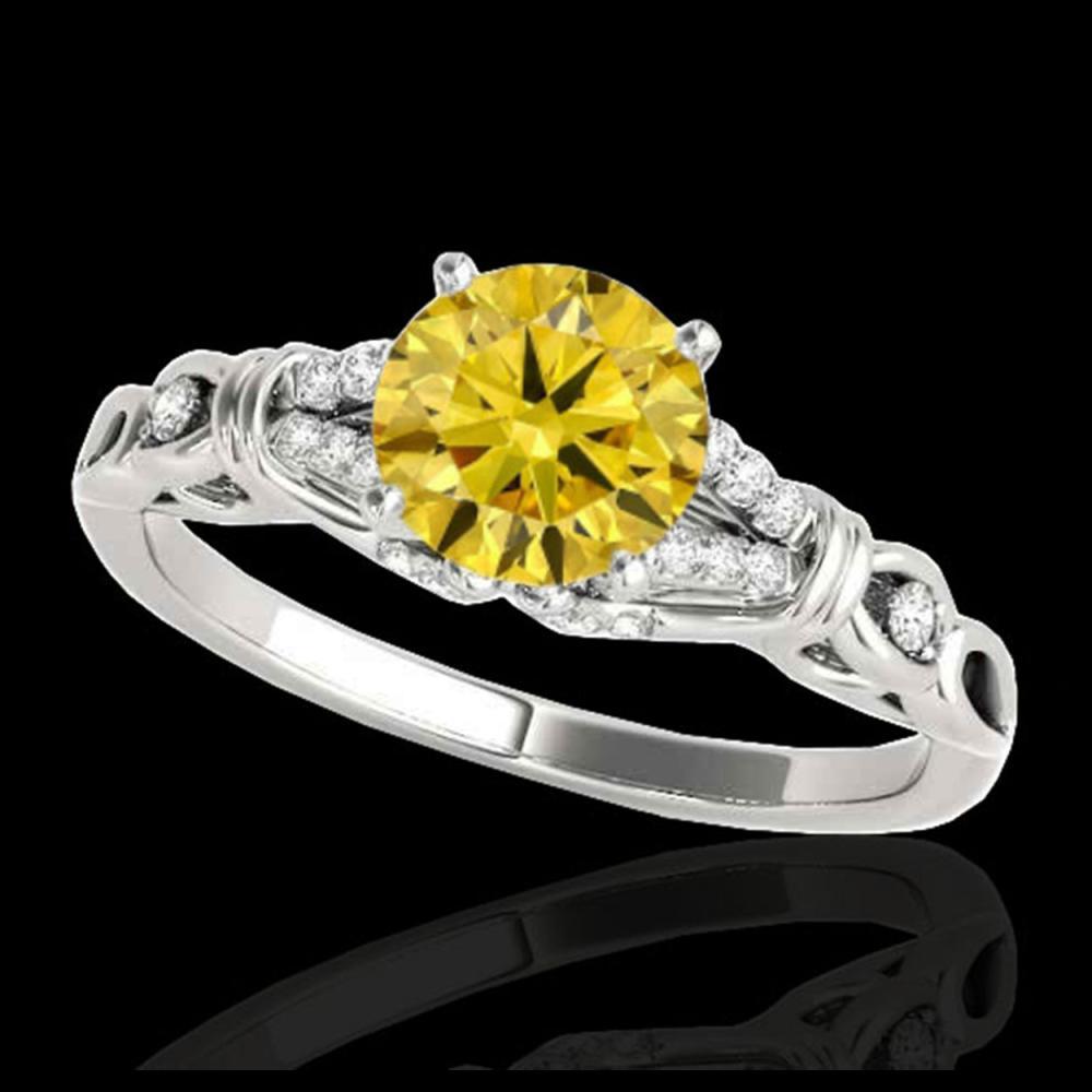 1.20 ctw SI/I Fancy Intense Yellow Diamond Ring 10K White Gold