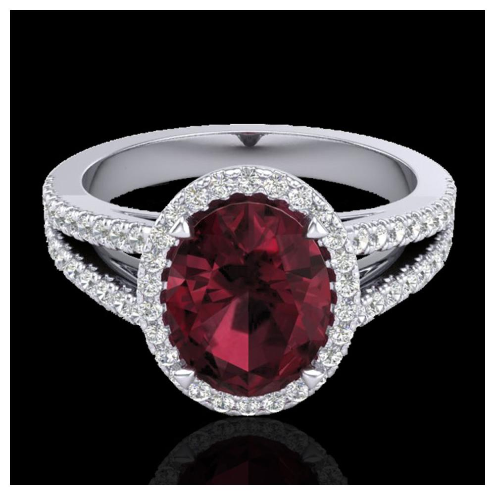 3 ctw Garnet & Diamond Halo Ring 18K White Gold