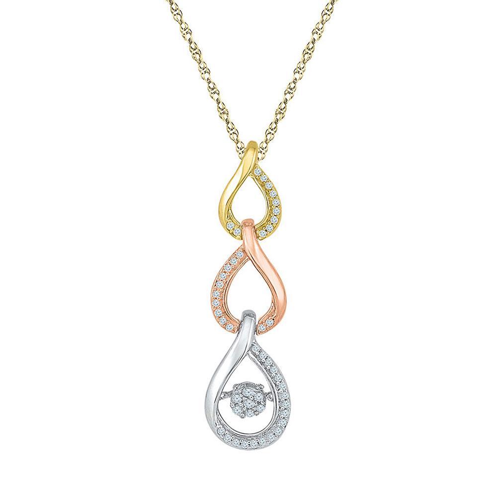 10K 3-tone Gold Pendant Triple Teardrop Twinkle 0.15ctw Diamond