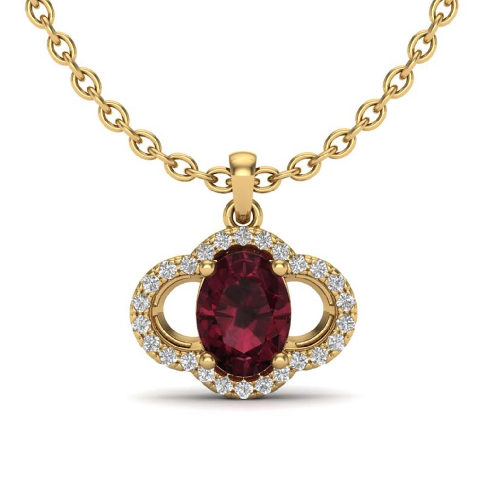 2 ctw Garnet & VS/SI Diamond Necklace 10K Yellow Gold