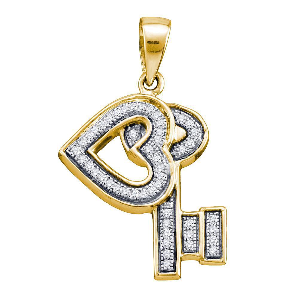Sterling Silver Pendant Key Love Heart 0.14ctw Diamond