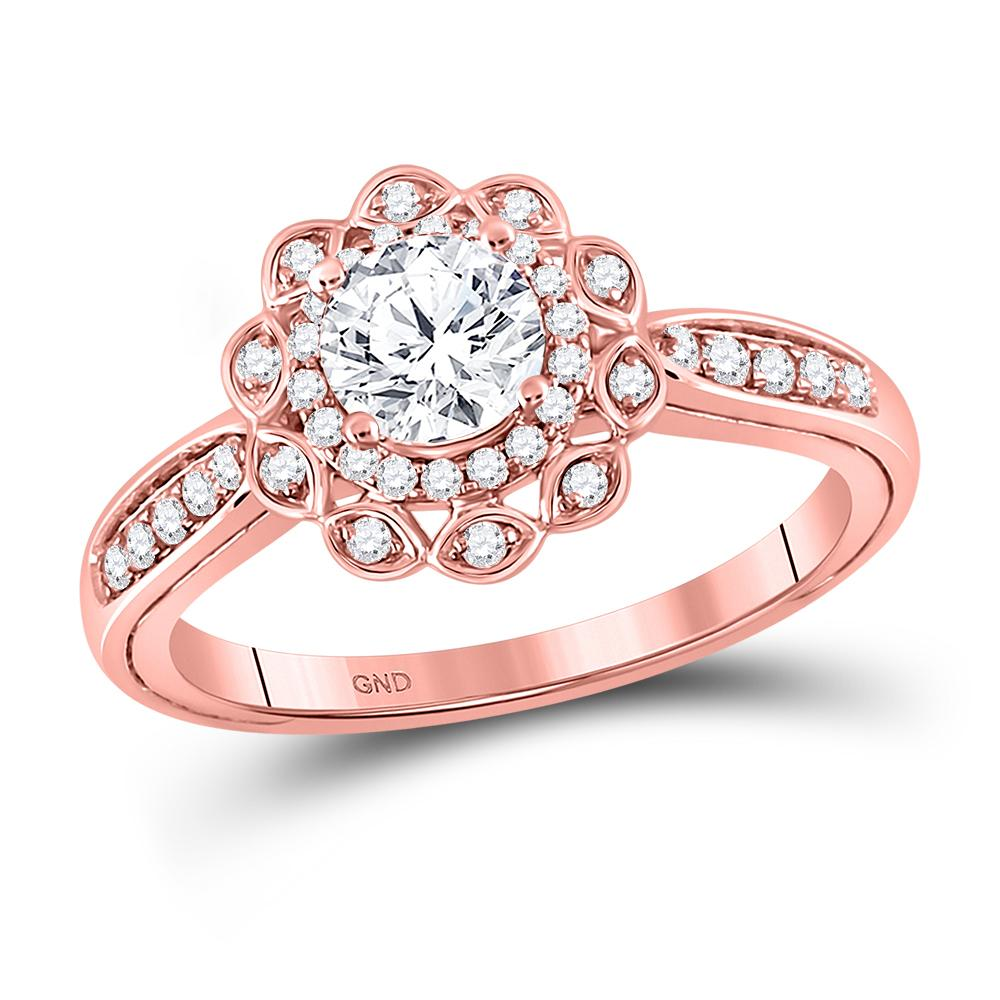 14K Rose Gold Ring Solitaire 0.99ctw Diamond