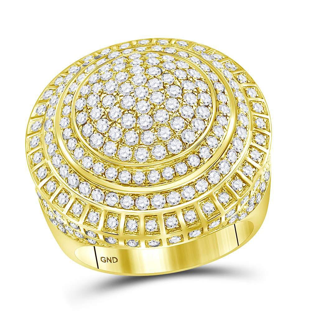 14K Yellow Gold Ring Statement Cluster 3.85ctw Diamond