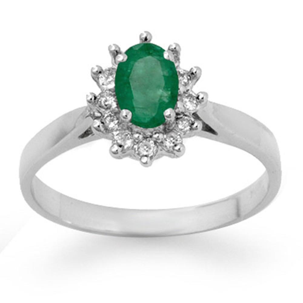 0.70 ctw Emerald & Diamond Ring 14K White Gold