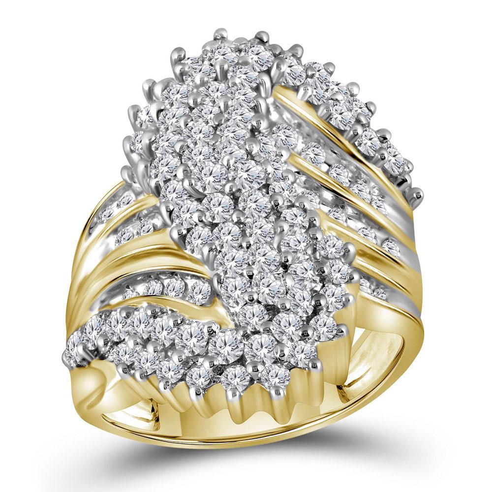 10K Yellow Gold Ring Cluster 2ctw Diamond