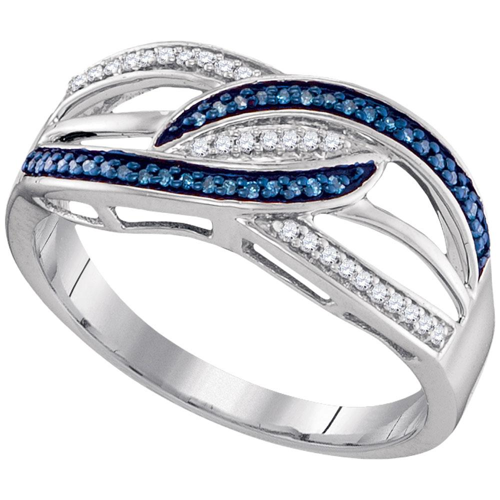 Sterling Silver Ring Crossover 0.13ctw Colored Blue Diamond, Diamond,