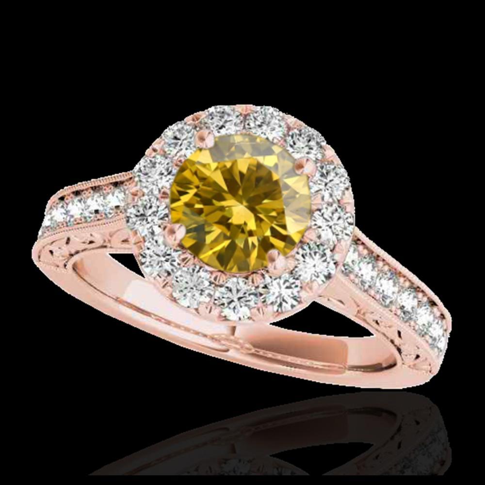 1.70 ctw SI/I Fancy Intense Yellow Diamond Ring 10K Rose Gold