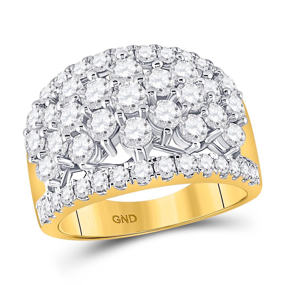 14K Yellow Gold Ring Cluster 3ctw Diamond