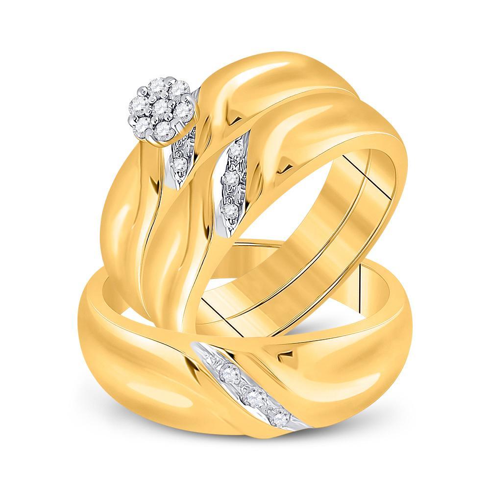 10K Yellow Gold Ring Cluster 0.18ctw Diamond