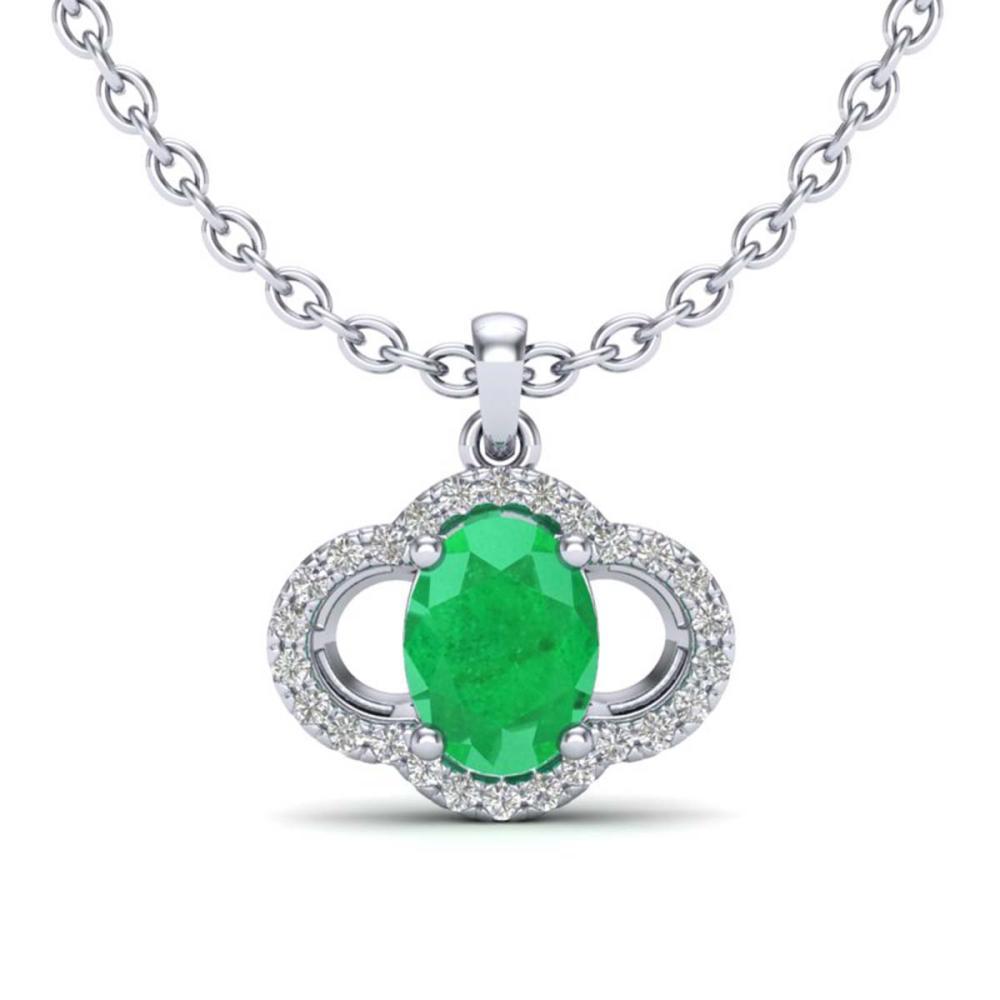 2 ctw Emerald & VS/SI Diamond Necklace 10K White Gold