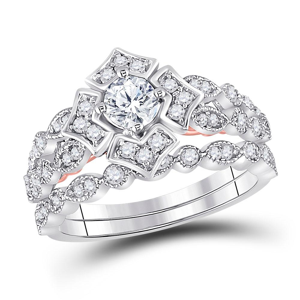 14K 2-tone Gold Ring 0.8ctw Diamond, Natural Blue Sapphire,