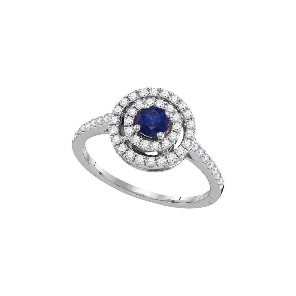 18K White Gold Ring 0.64ctw Natural Blue Sapphire, Diamond,
