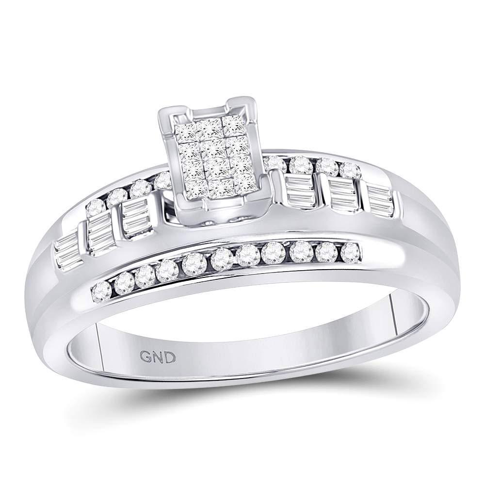 Sterling Silver Ring Square Cluster 0.36ctw Diamond