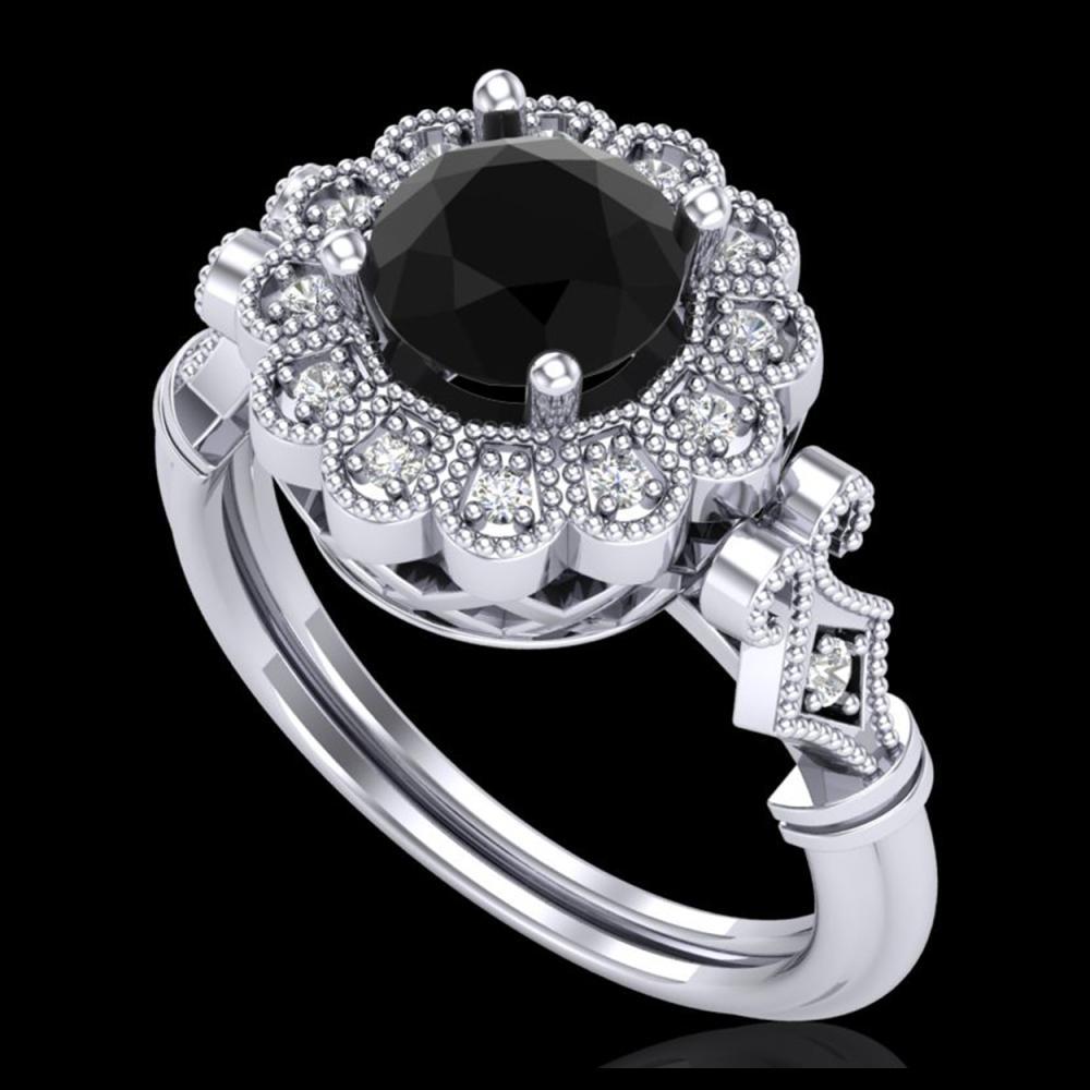 1.20 ctw Fancy Black Diamond Art Deco Ring 18K White Gold