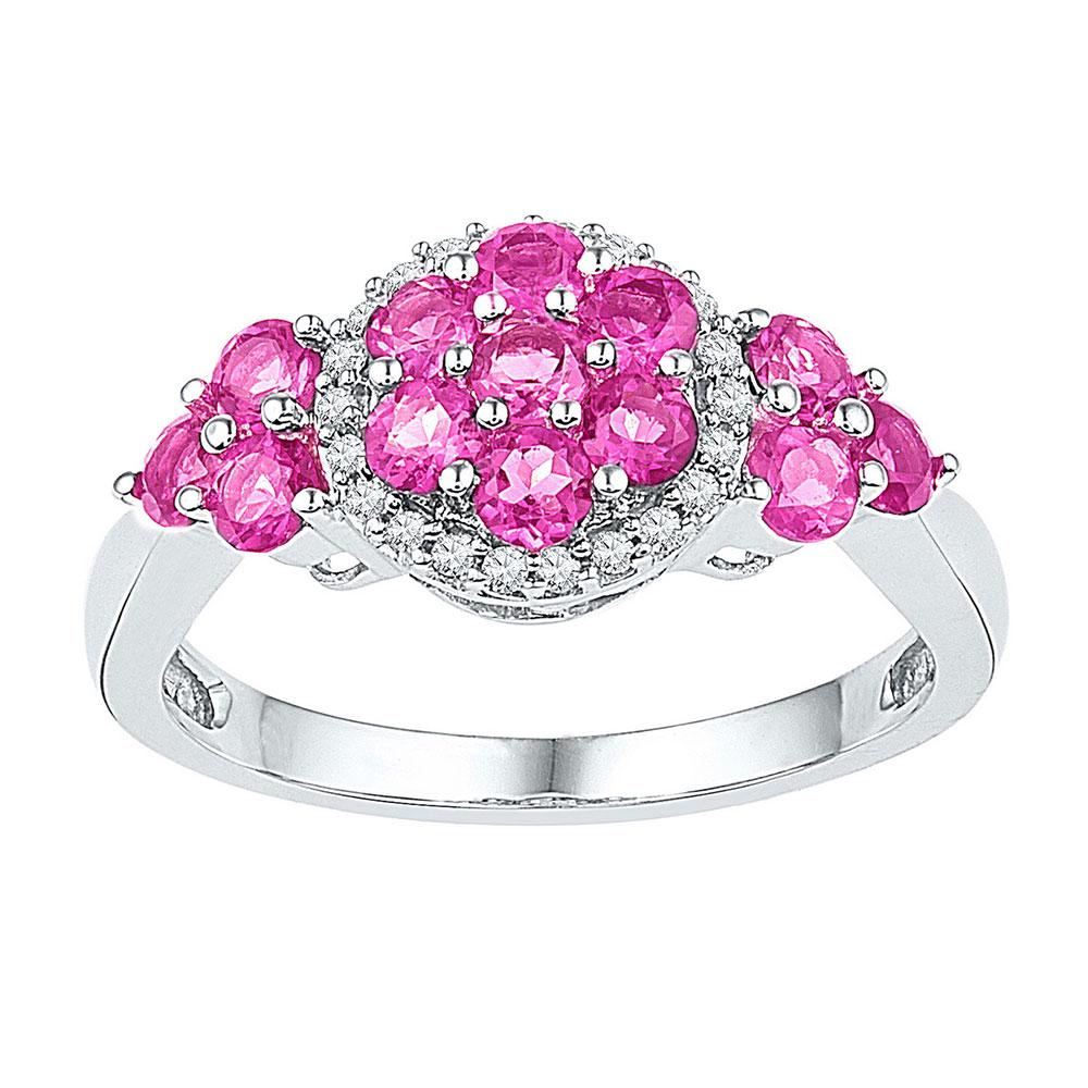 10K White Gold Ring 2.1ctw Lab Pink Sapphire, Diamond,