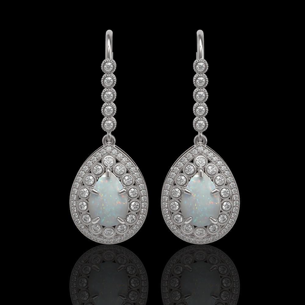 8.29 ctw Opal & Diamond Earrings 14K White Gold