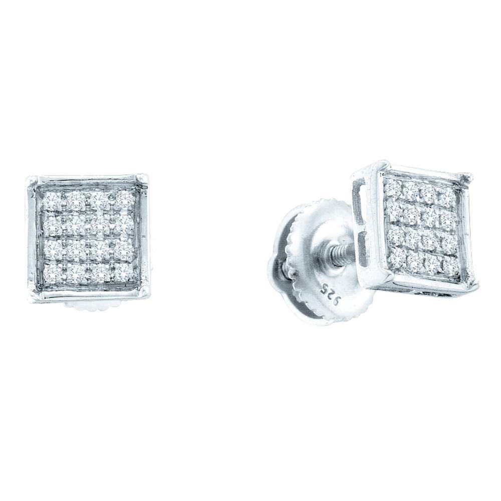 14K White Gold Earrings Square Cluster 0.1ctw Diamond