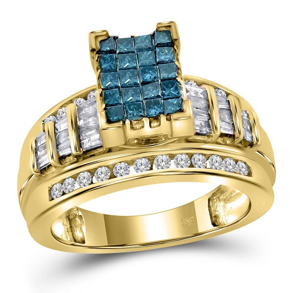 14K Yellow Gold Ring Cluster 1.01ctw Colored Blue Diamond, Diamond,