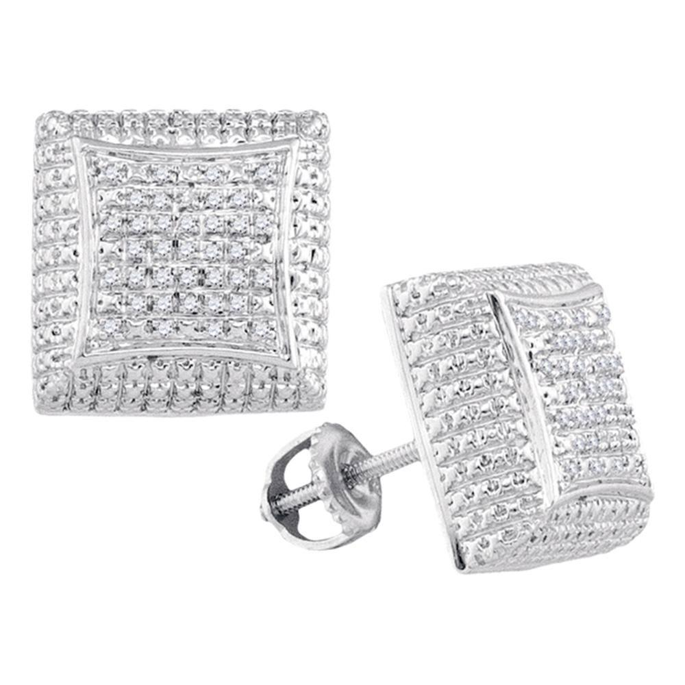 Sterling Silver Earrings Square 0.13ctw Diamond
