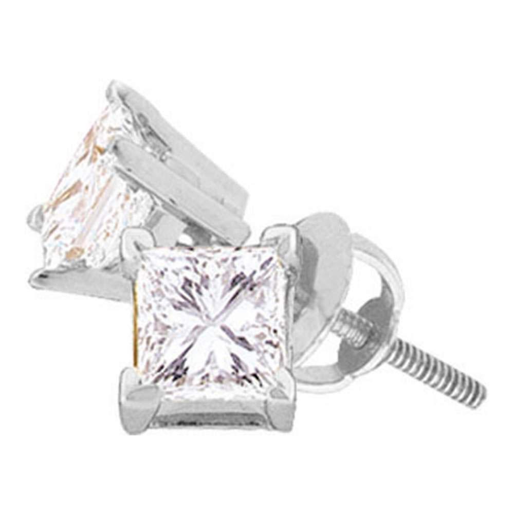 14K White Gold Earrings Solitaire Stud 0.16ctw Diamond