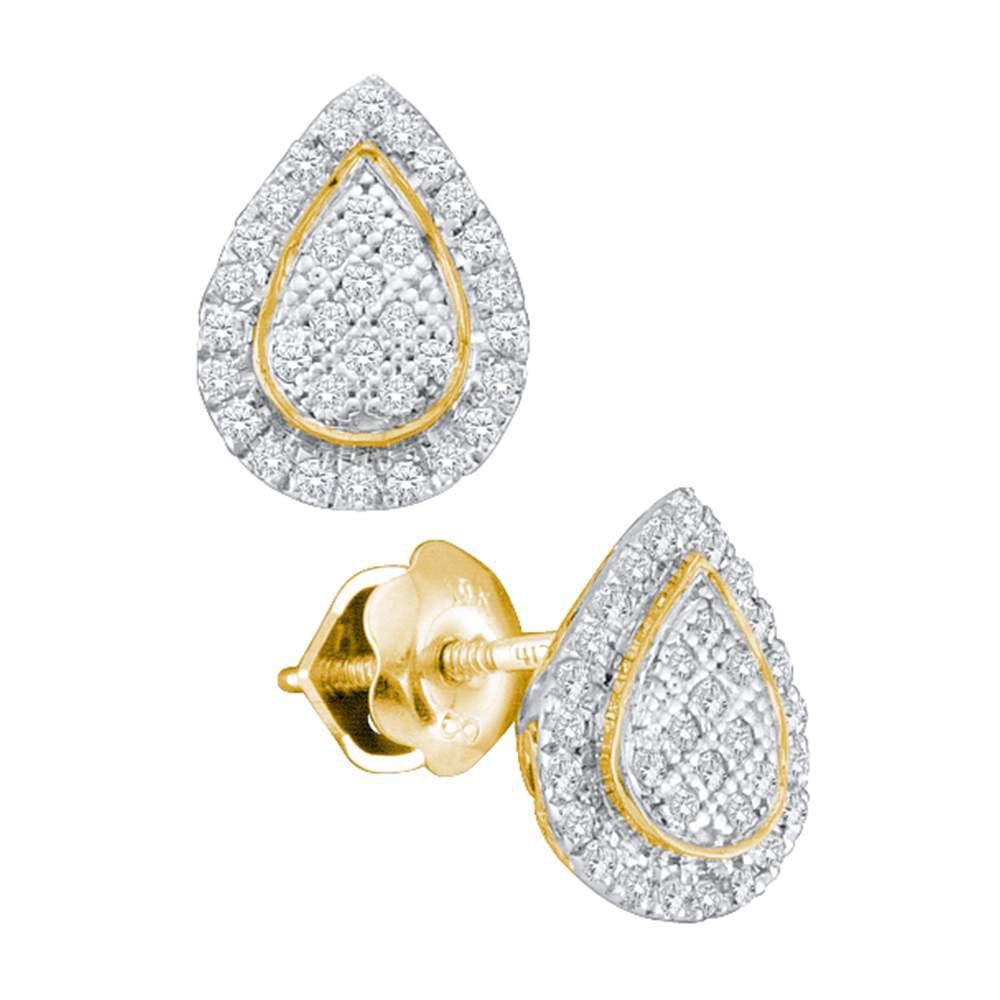 10K Yellow Gold Earrings Teardrop Cluster 0.18ctw Diamond