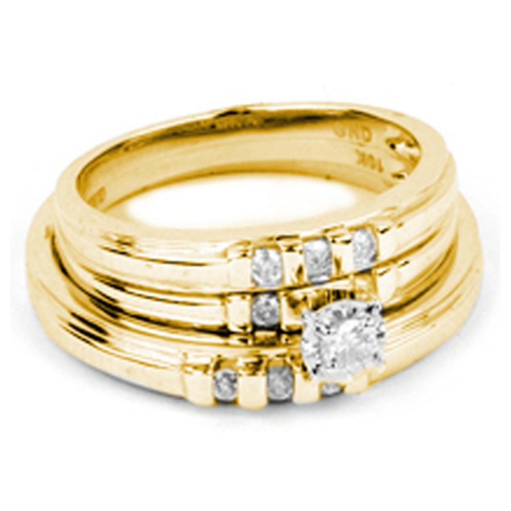 10K Yellow Gold 3-Ring Set 0.2ctw Diamond