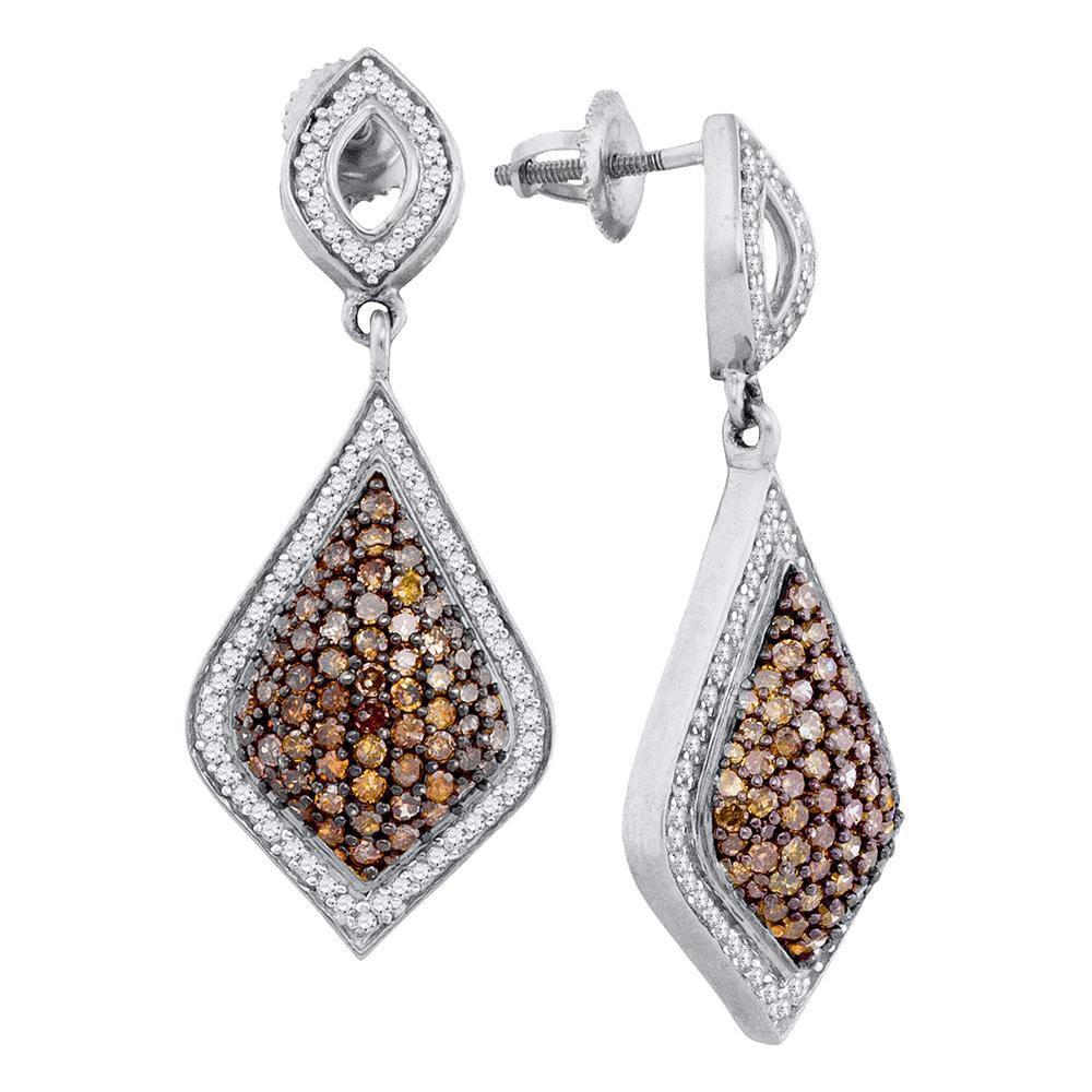 10K White Gold Hoop Earrings Teardrop Dangle 2.2ctw Brown Diamond, Diamond,